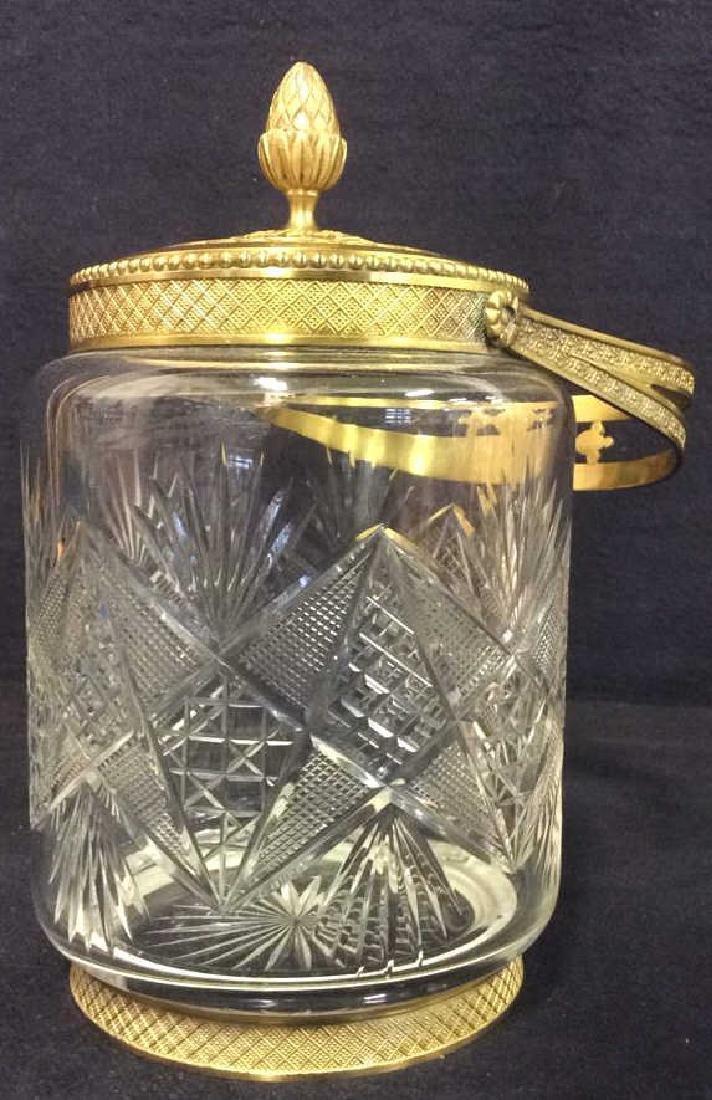 Cut Crystal Jar W Gold Toned Accents & Lid - 8