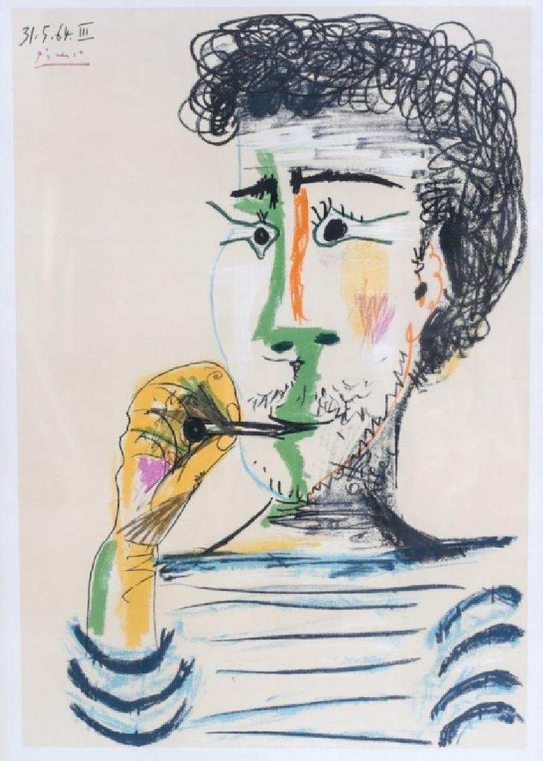 Picasso, Pablo Lithograph Man Smoking Pipe