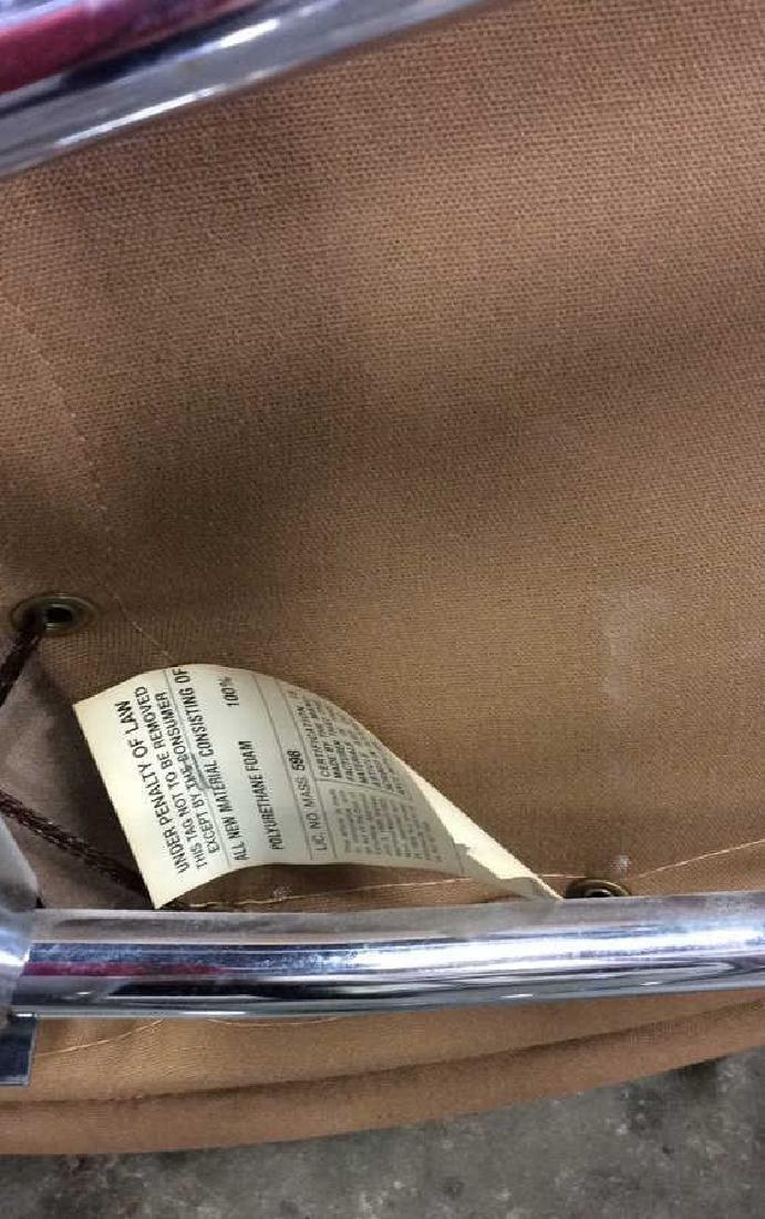 Mid Century Modern Leather Chrome  Chair wOttomon - 10