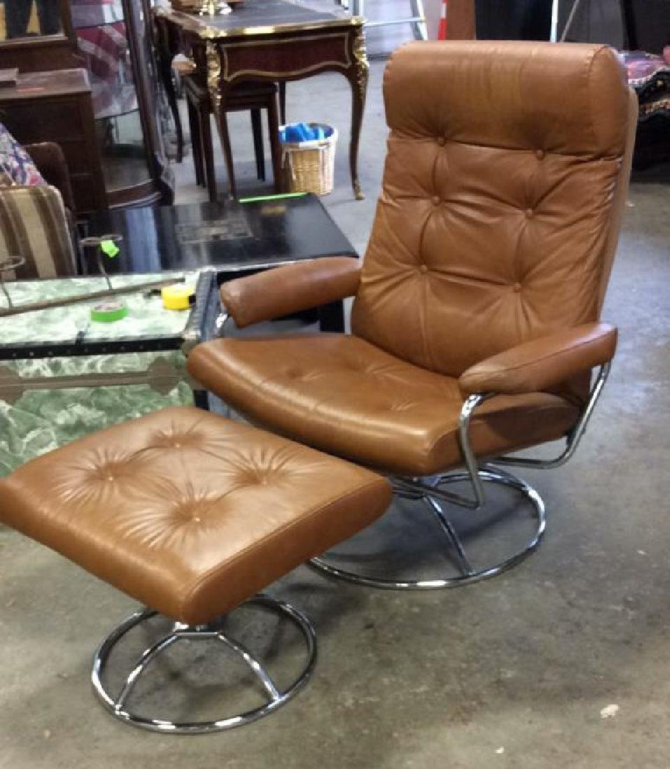 Mid Century Modern Leather Chrome  Chair wOttomon
