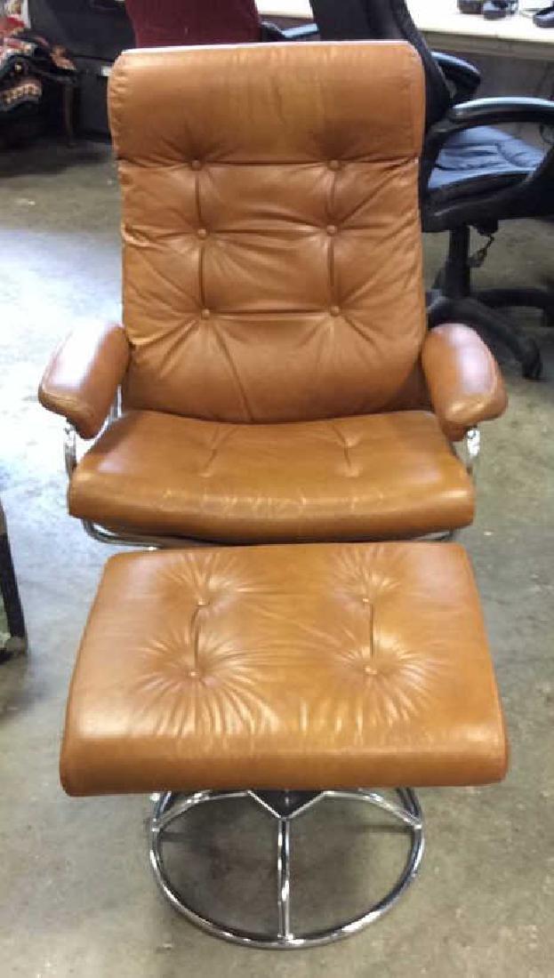 Mid Century Modern Leather Chrome  Chair wOttomon - 2