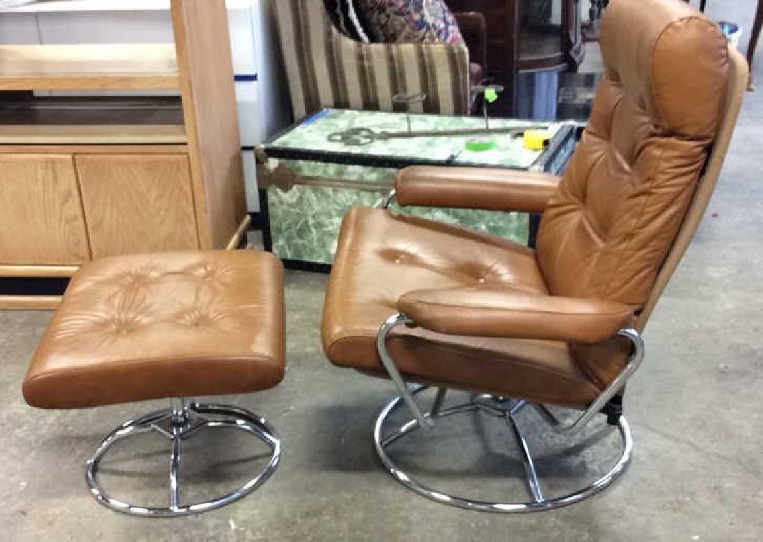 Mid Century Modern Leather Chrome  Chair wOttomon - 4