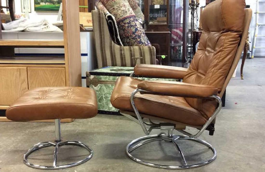 Mid Century Modern Leather Chrome  Chair wOttomon - 5