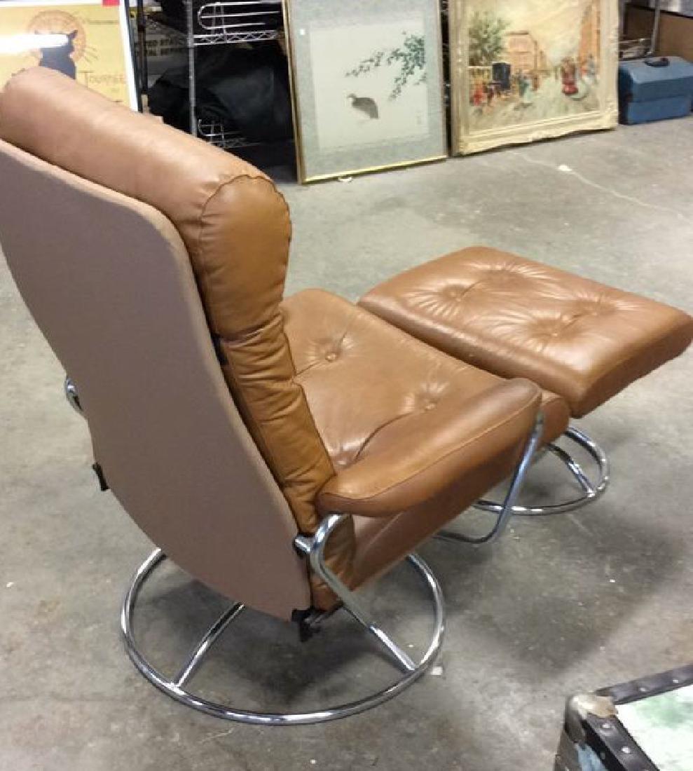 Mid Century Modern Leather Chrome  Chair wOttomon - 6