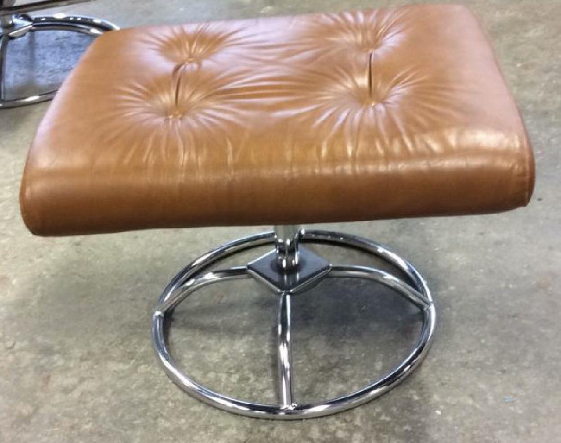 Mid Century Modern Leather Chrome  Chair wOttomon - 8
