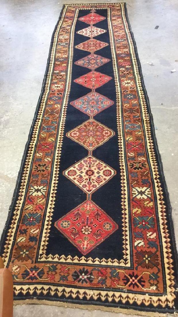 Vintage Oriental Handwoven Wool Carpet Runner - 2