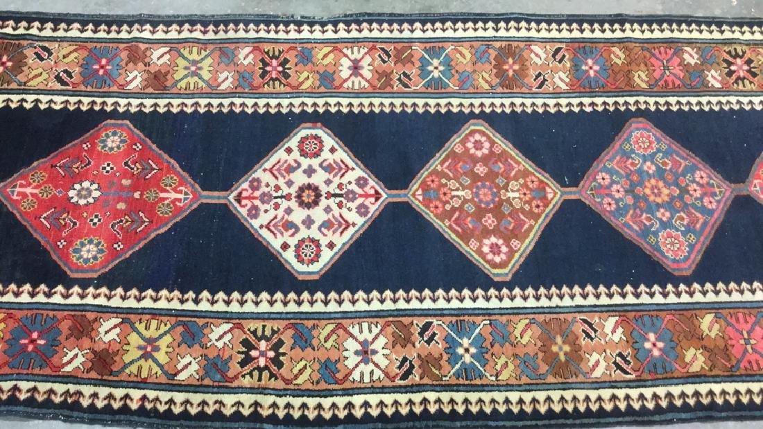 Vintage Oriental Handwoven Wool Carpet Runner - 9