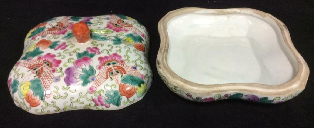Vintage Oriental Porcelain Lidded Trinket Box - 10