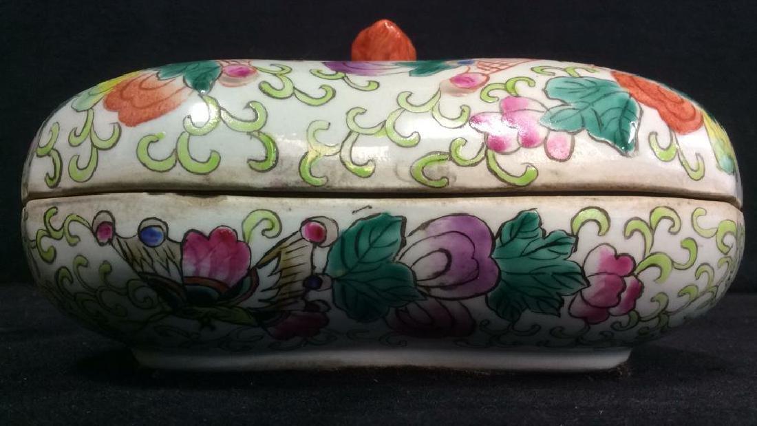 Vintage Oriental Porcelain Lidded Trinket Box - 3