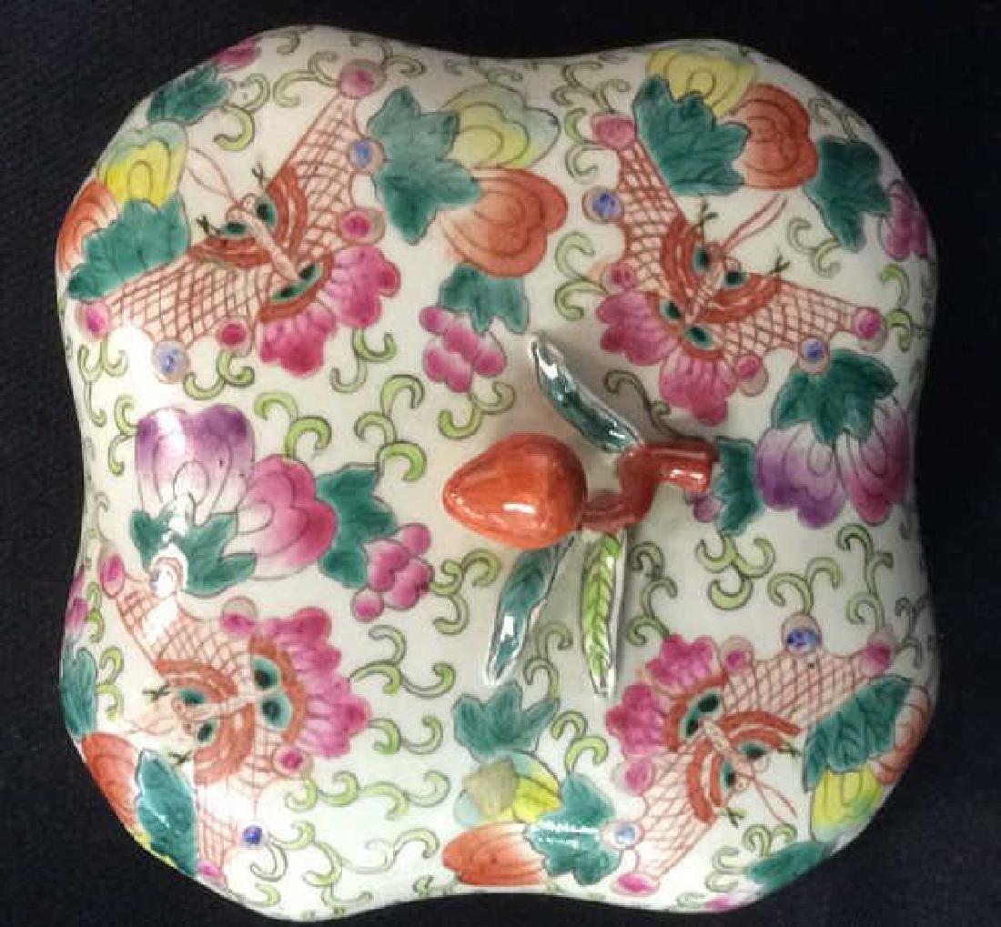 Vintage Oriental Porcelain Lidded Trinket Box - 4