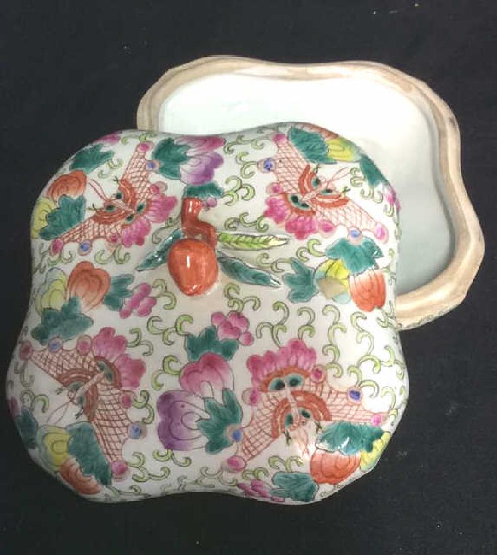 Vintage Oriental Porcelain Lidded Trinket Box - 5