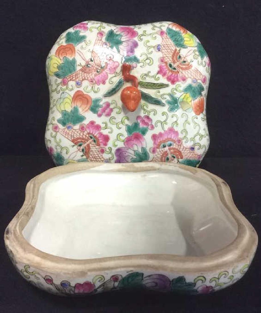 Vintage Oriental Porcelain Lidded Trinket Box - 6