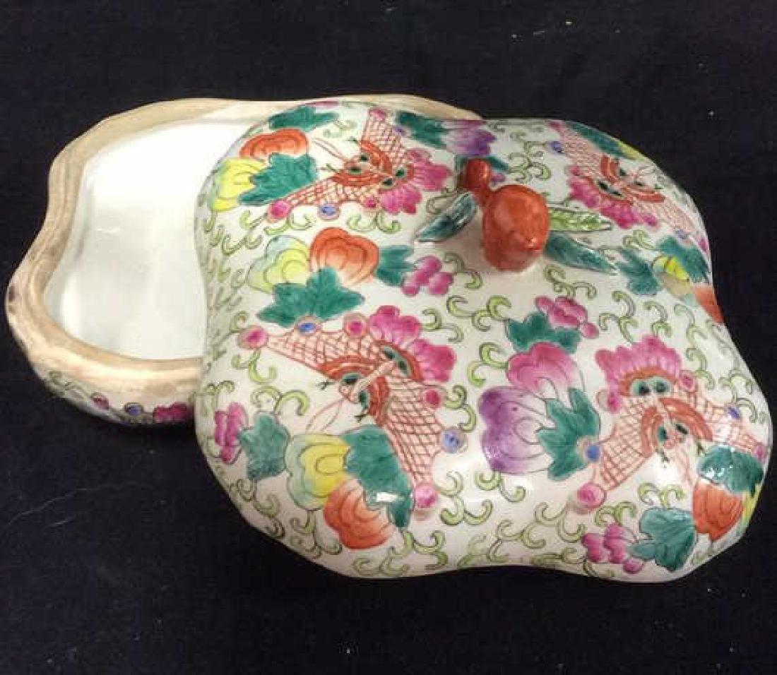 Vintage Oriental Porcelain Lidded Trinket Box - 8