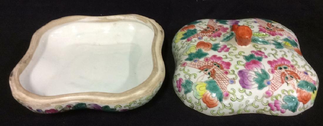 Vintage Oriental Porcelain Lidded Trinket Box - 9