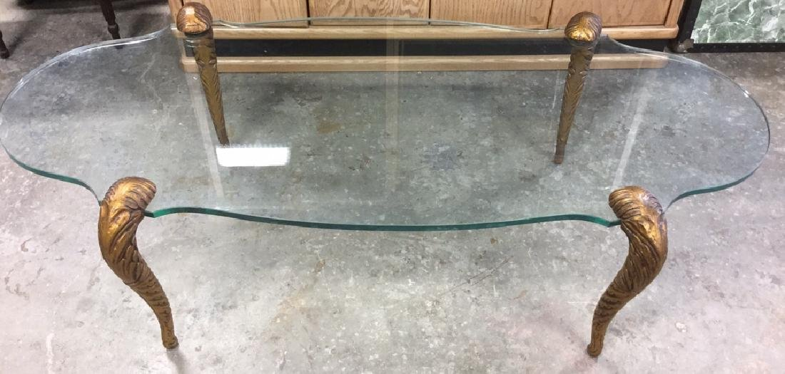 Glass Topped Coffee Table With Serpent Legs