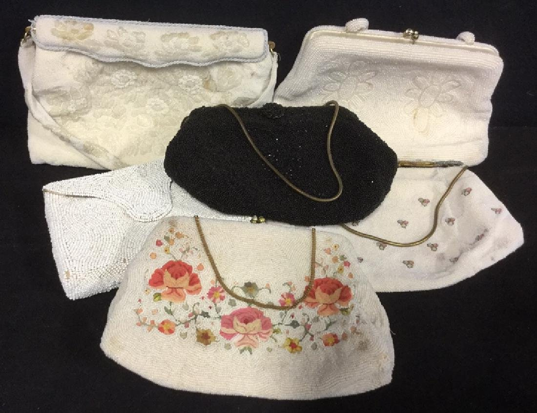 Lot 6 Vintage Possibly Antique Beaded Handbags