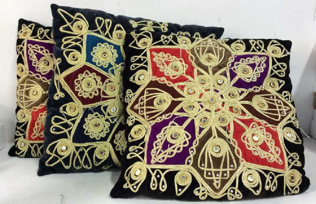 Lot 3 Poss Vintage Fabric Throw Pillows