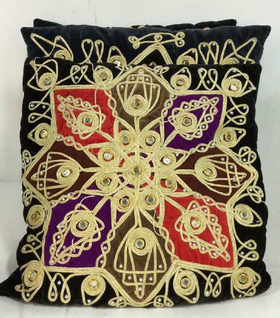 Lot 3 Poss Vintage Fabric Throw Pillows - 2
