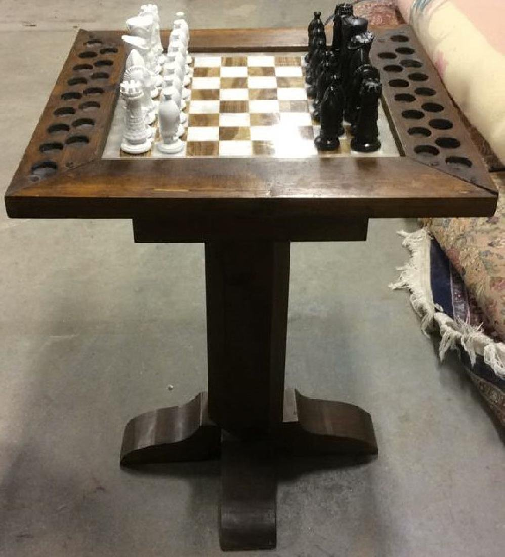 Lot 33 Carved Wood & Onyx Chess Table