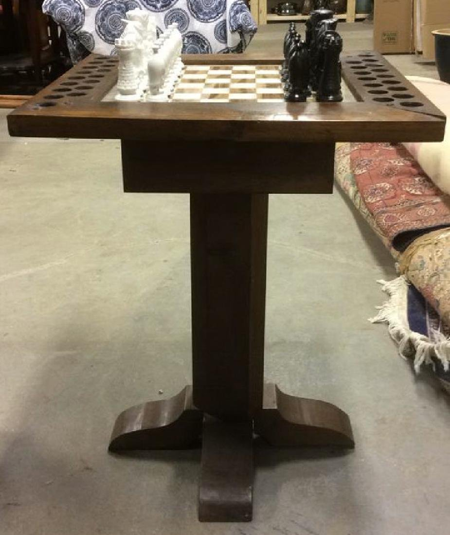 Lot 33 Carved Wood & Onyx Chess Table - 2
