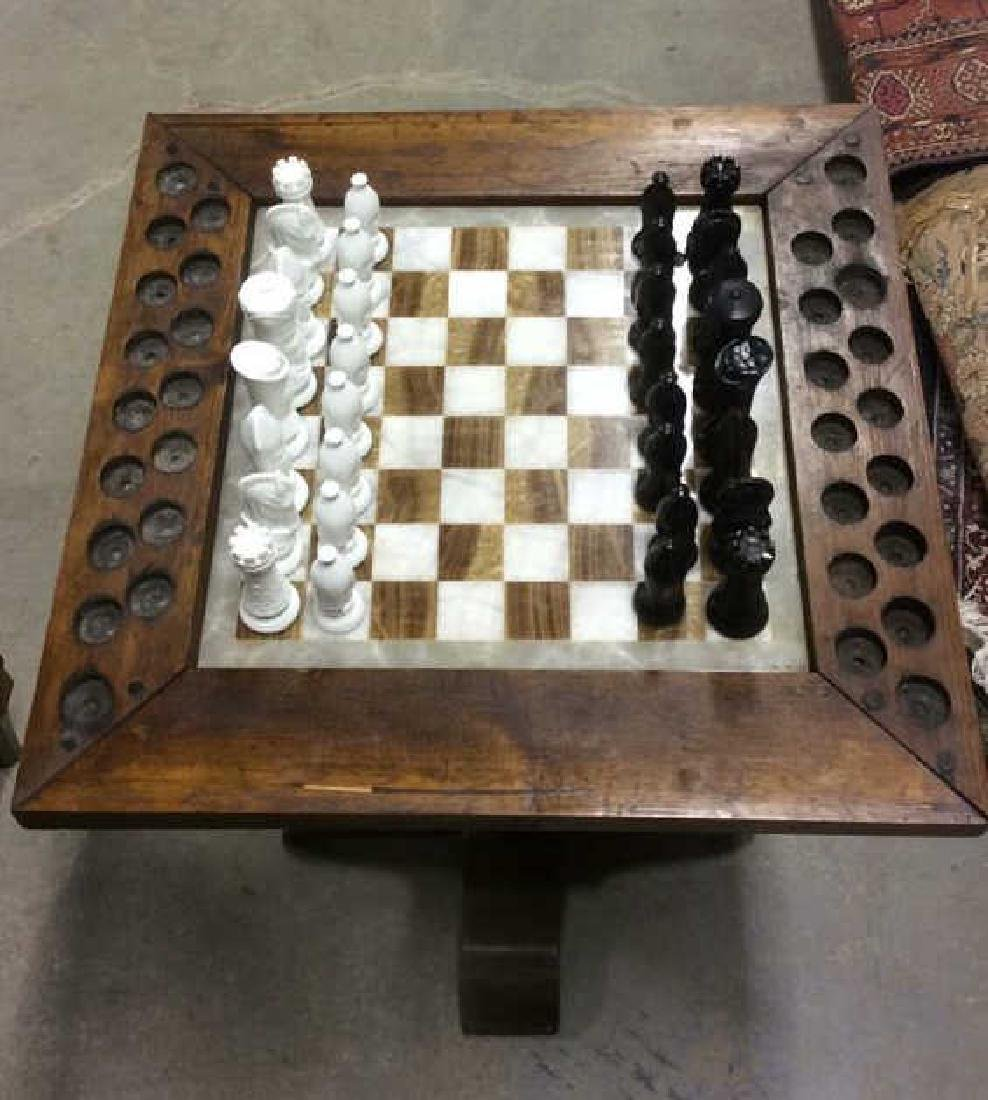 Lot 33 Carved Wood & Onyx Chess Table - 3