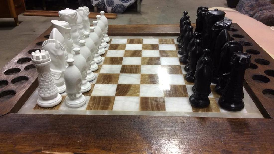 Lot 33 Carved Wood & Onyx Chess Table - 4