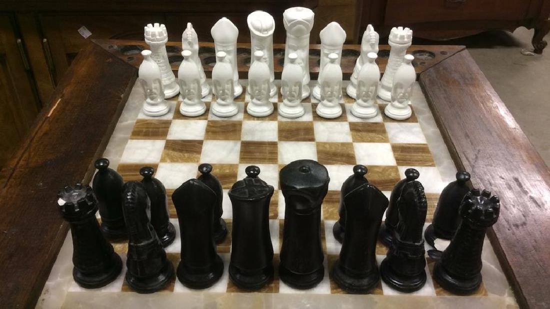 Lot 33 Carved Wood & Onyx Chess Table - 5