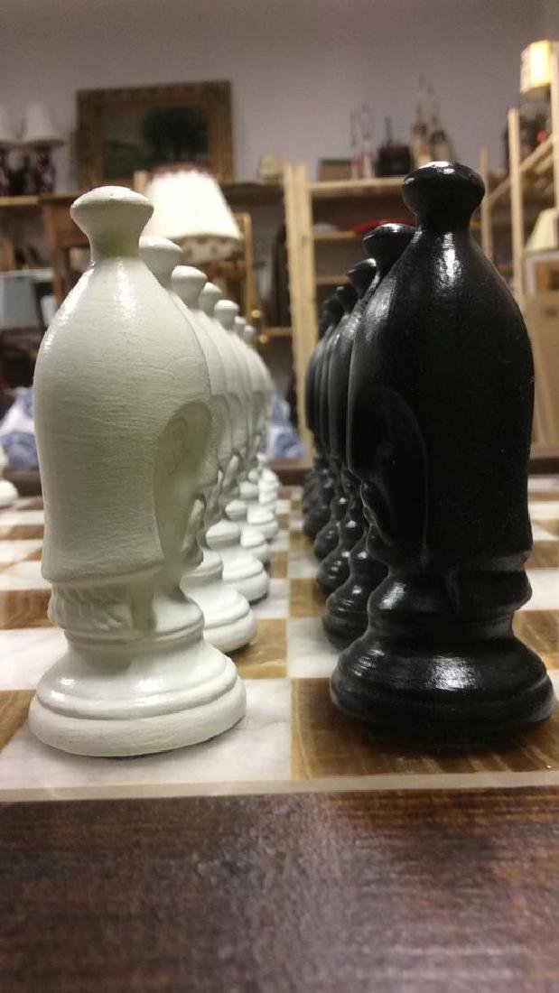 Lot 33 Carved Wood & Onyx Chess Table - 6