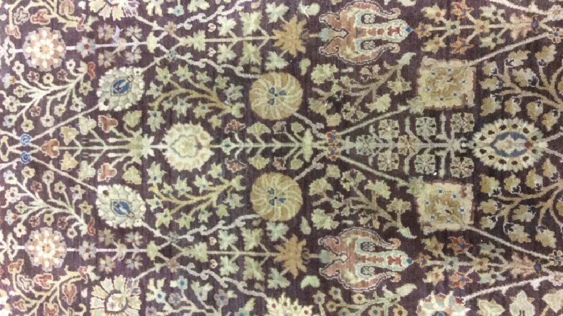 Chocolate Cream Tone Floral Motif Wool Rug