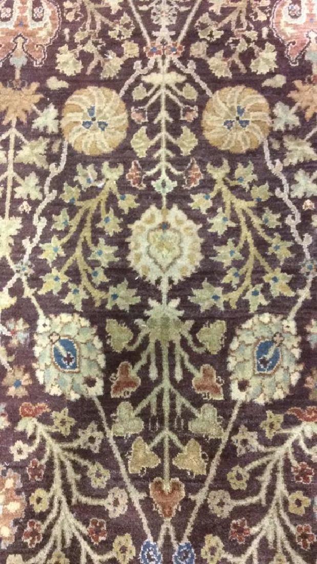 Chocolate Cream Tone Floral Motif Wool Rug - 3