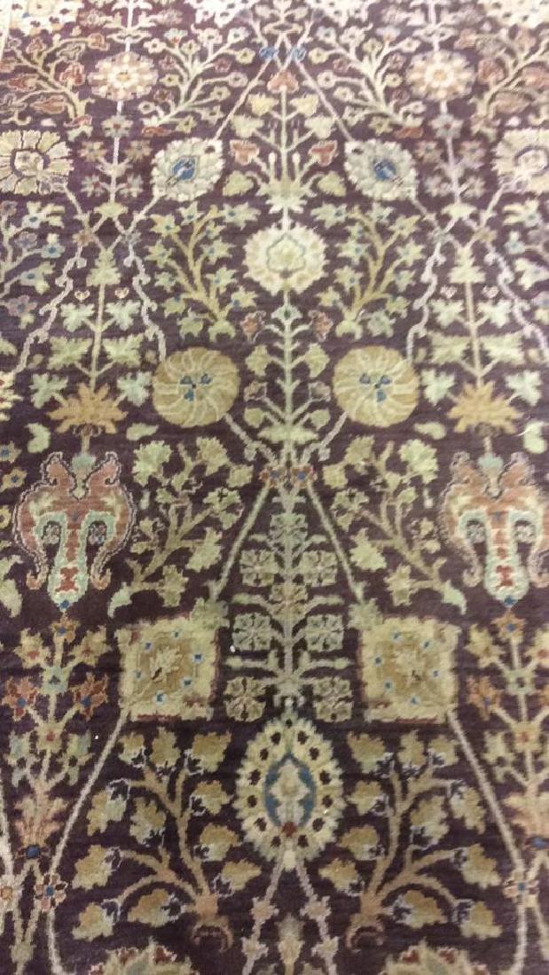 Chocolate Cream Tone Floral Motif Wool Rug - 9