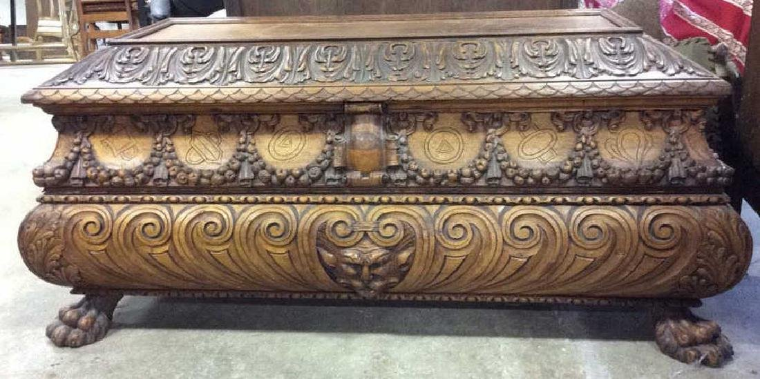 Intricately Carved Vintage Footed Wooden Chest