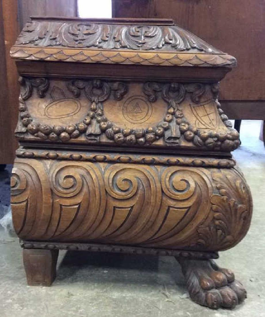 Intricately Carved Vintage Footed Wooden Chest - 3