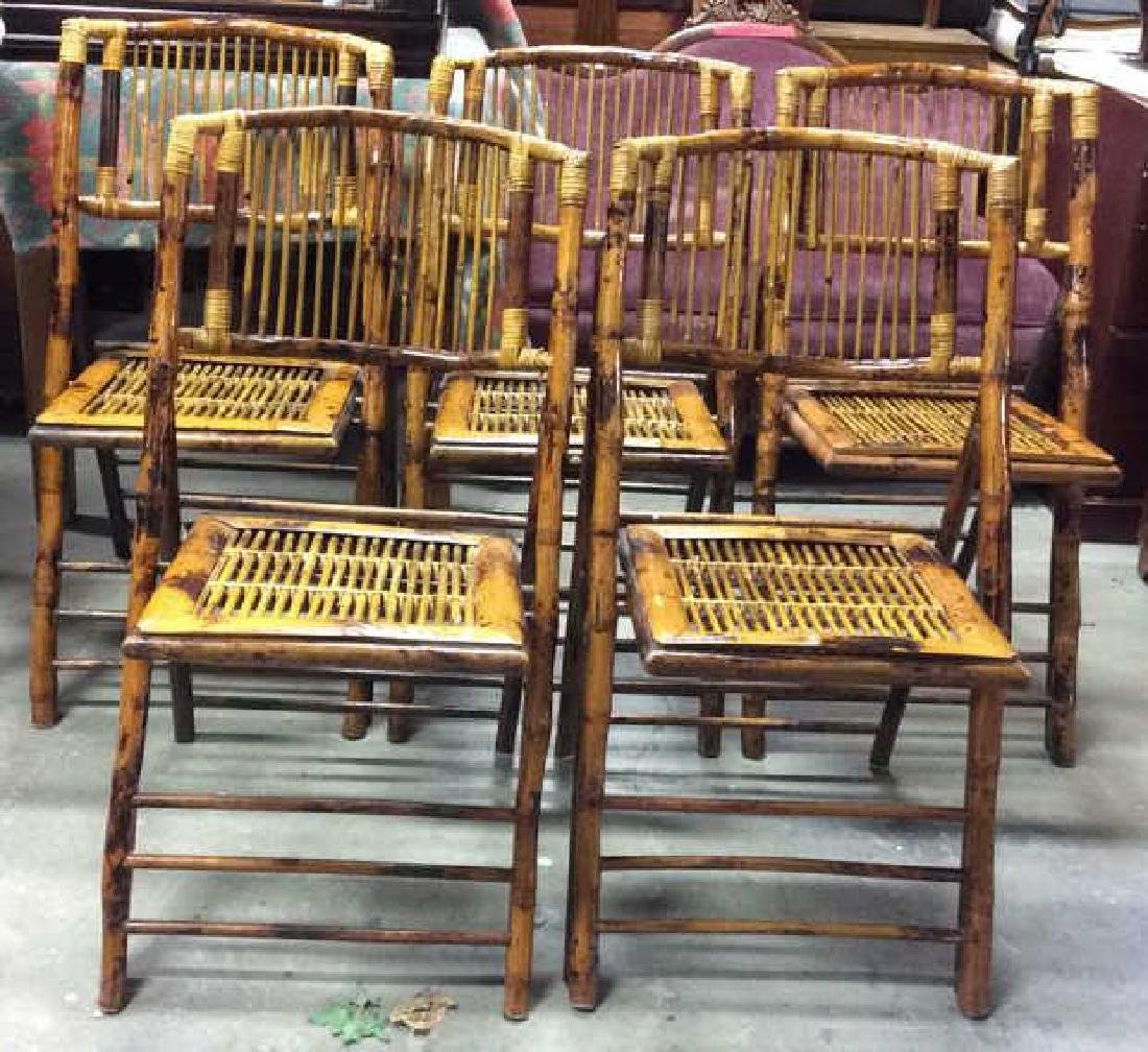 Set 5 Vintage Bamboo Folding Chairs