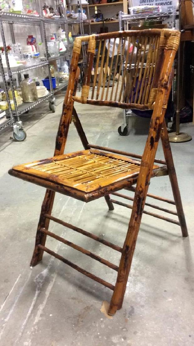 Set 5 Vintage Bamboo Folding Chairs - 4