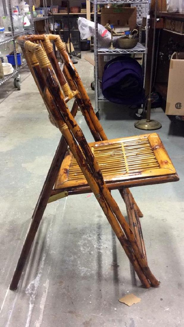 Set 5 Vintage Bamboo Folding Chairs - 5