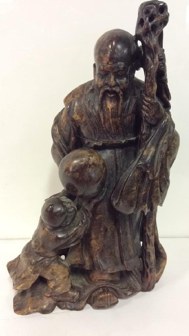 Soapstone Chinese Figure Elder W Child