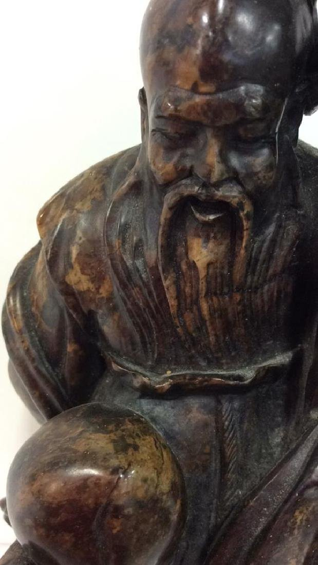Soapstone Chinese Figure Elder W Child - 2