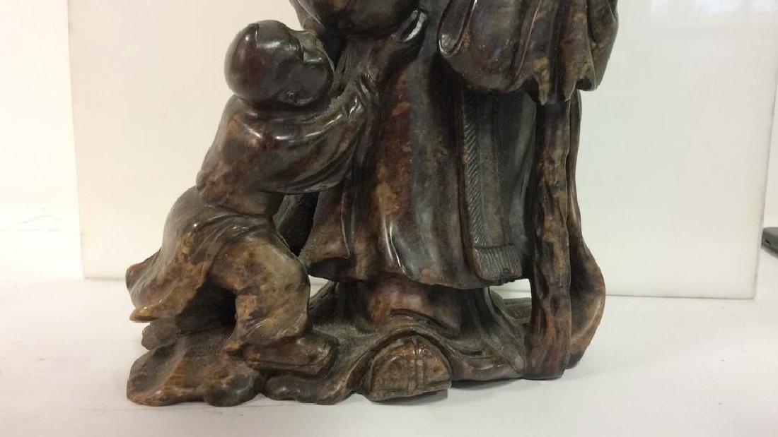 Soapstone Chinese Figure Elder W Child - 4