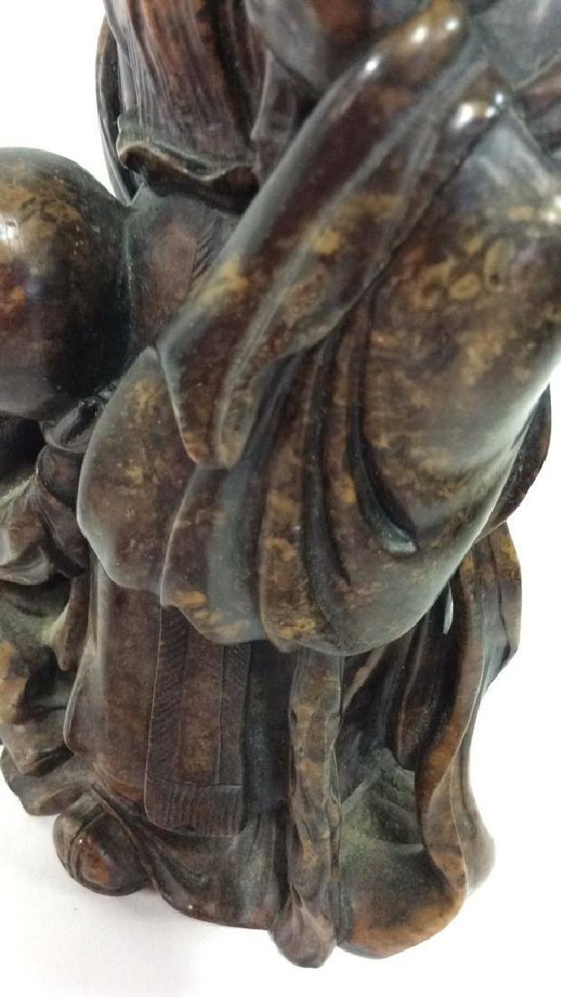 Soapstone Chinese Figure Elder W Child - 8