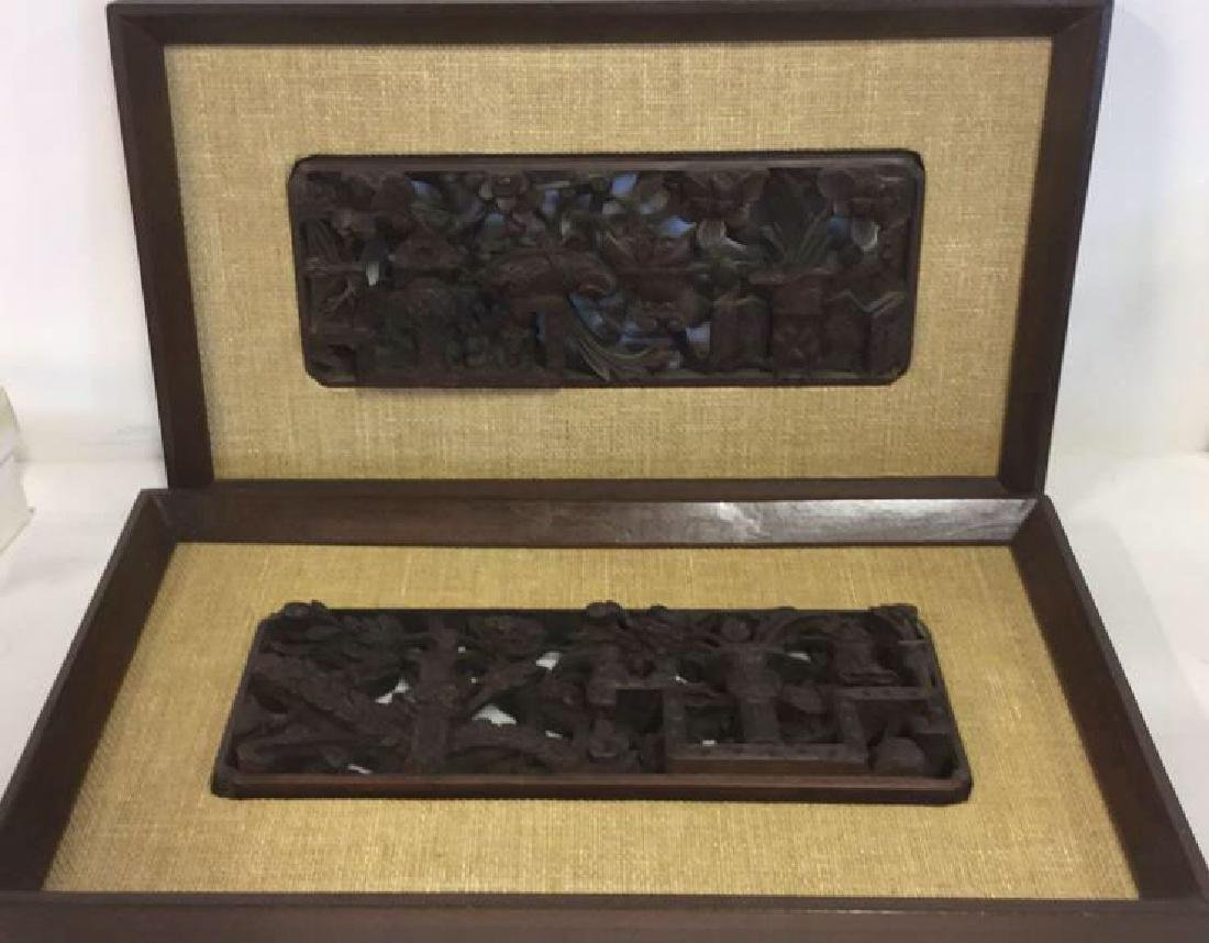 Pair Carved Wood Chinese Plaques - 2