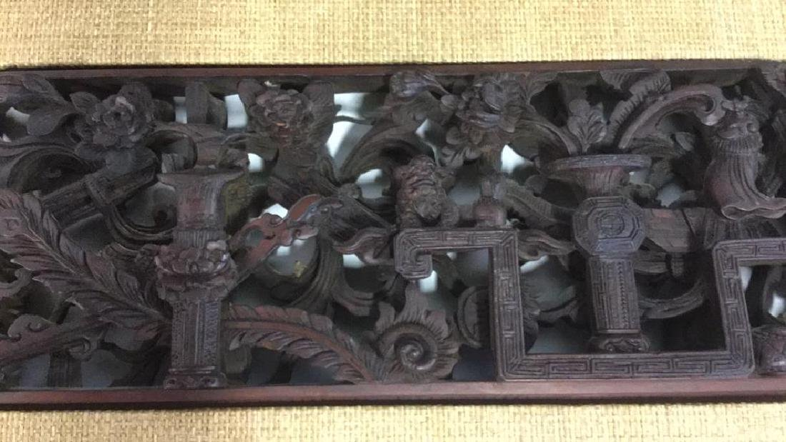 Pair Carved Wood Chinese Plaques - 7