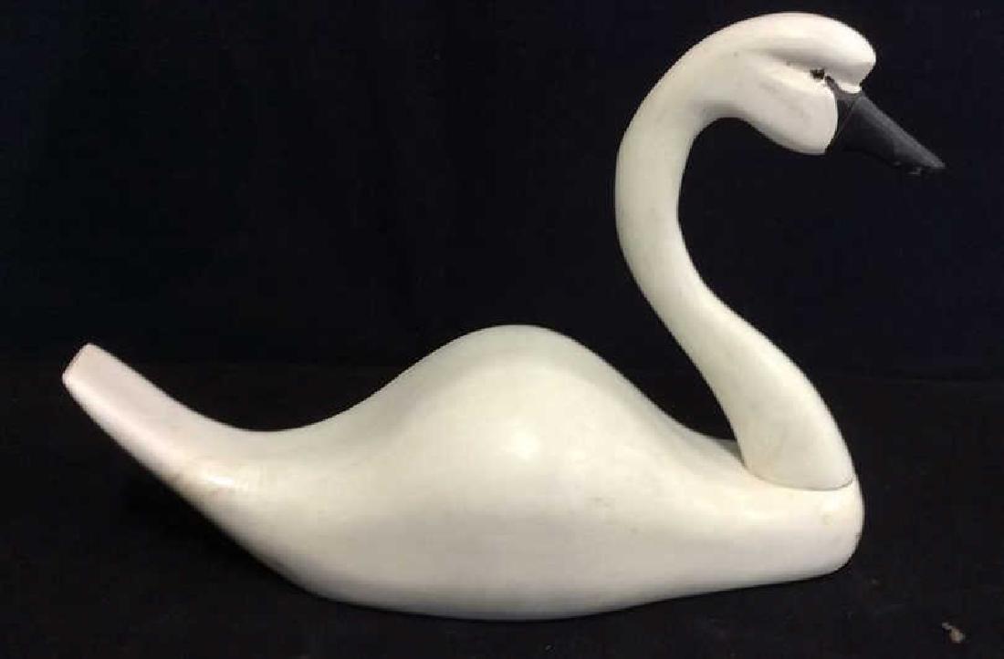Folk Art Carved Painted Wood Swan, Canada - 3
