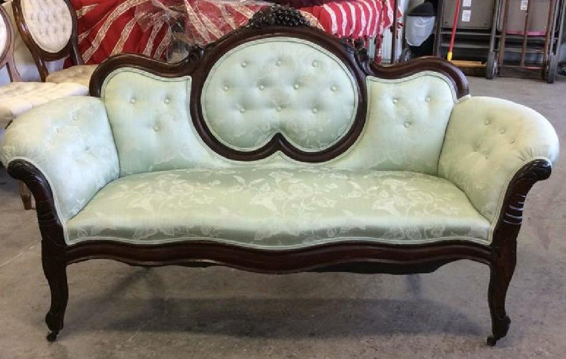 Carved Upholstered Classic Victorian Setee