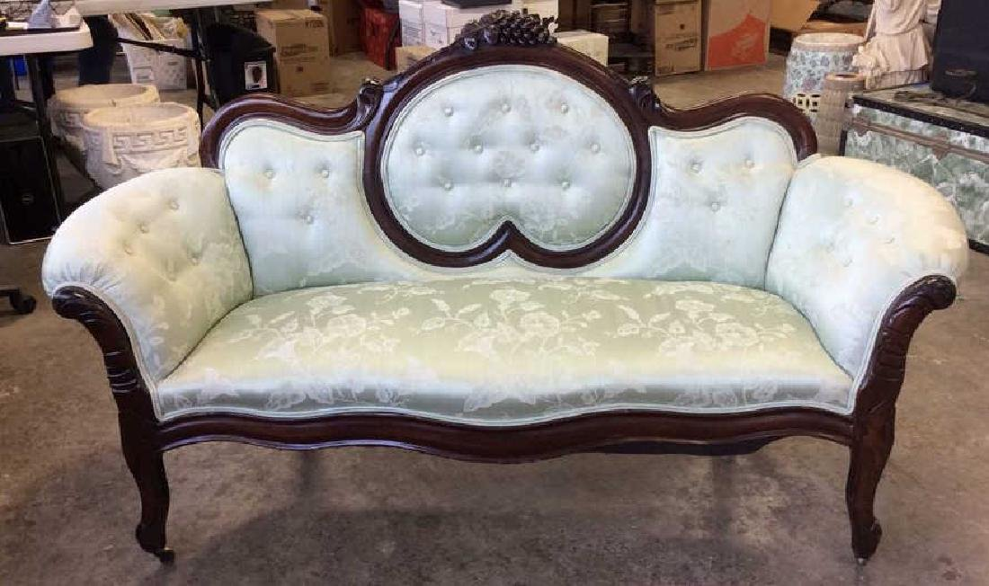 Carved Upholstered Classic Victorian Setee - 2