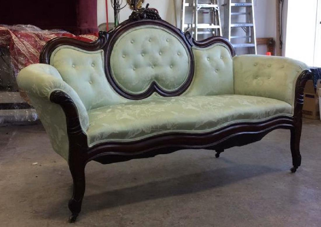 Carved Upholstered Classic Victorian Setee - 3