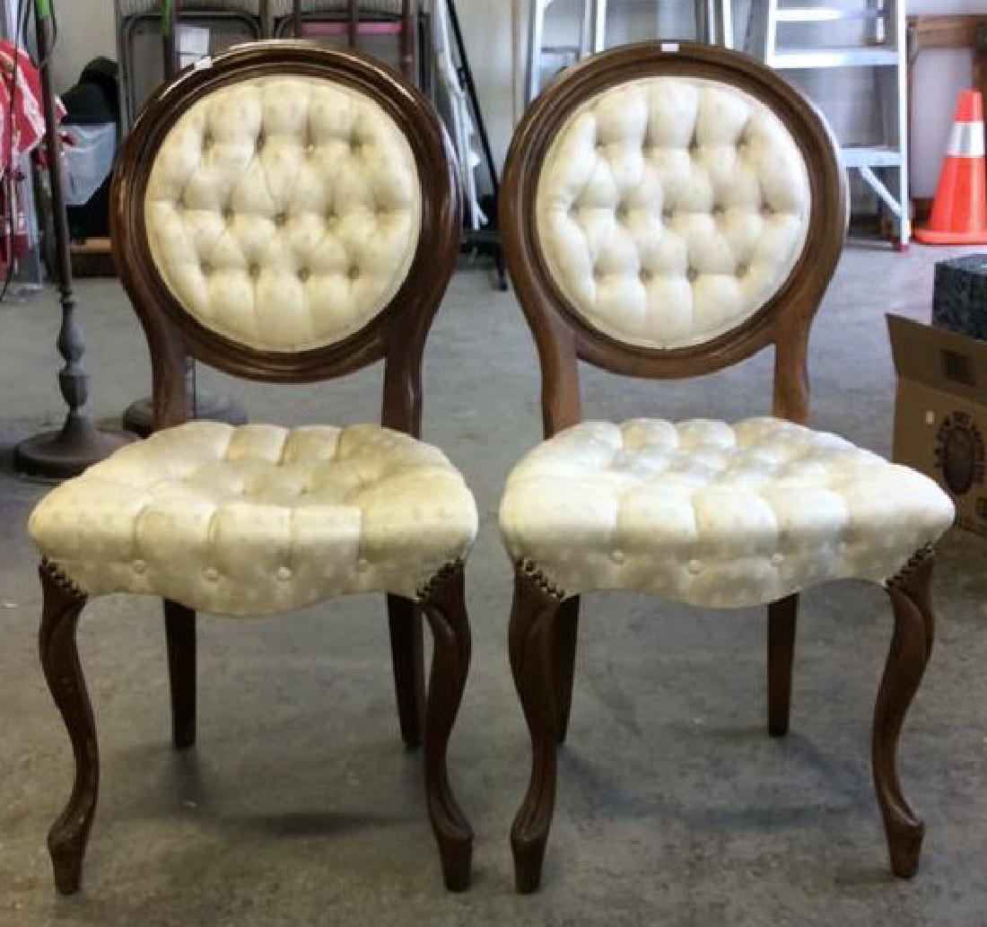 Pair Louis XIV Style Oval Back Chairs