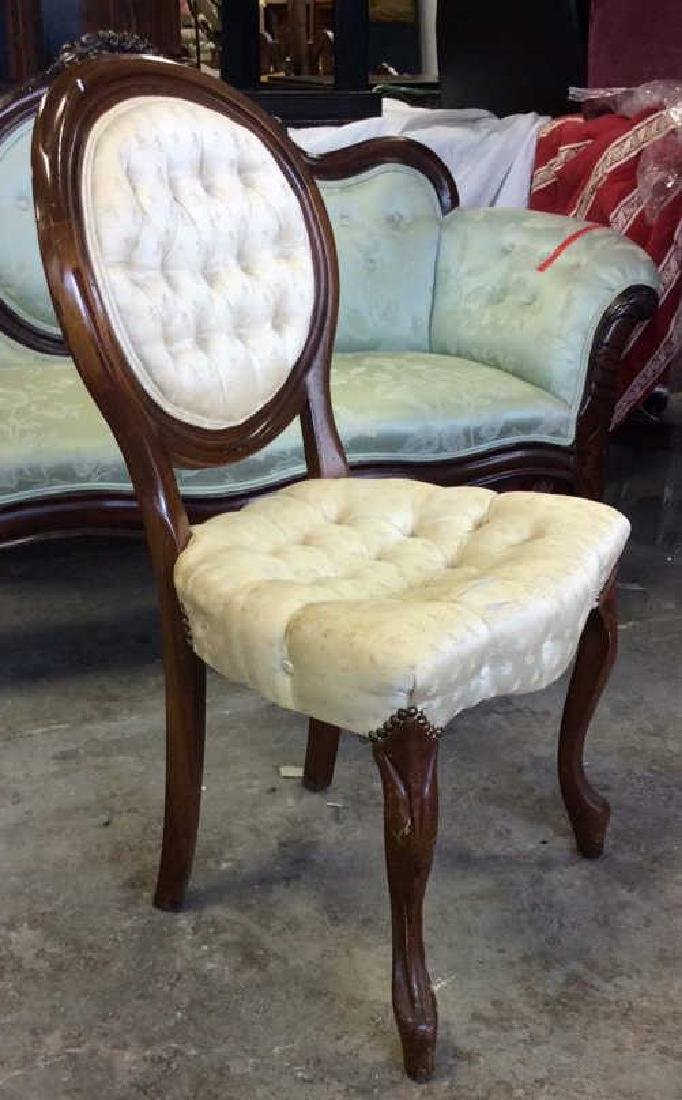 Pair Louis XIV Style Oval Back Chairs - 4
