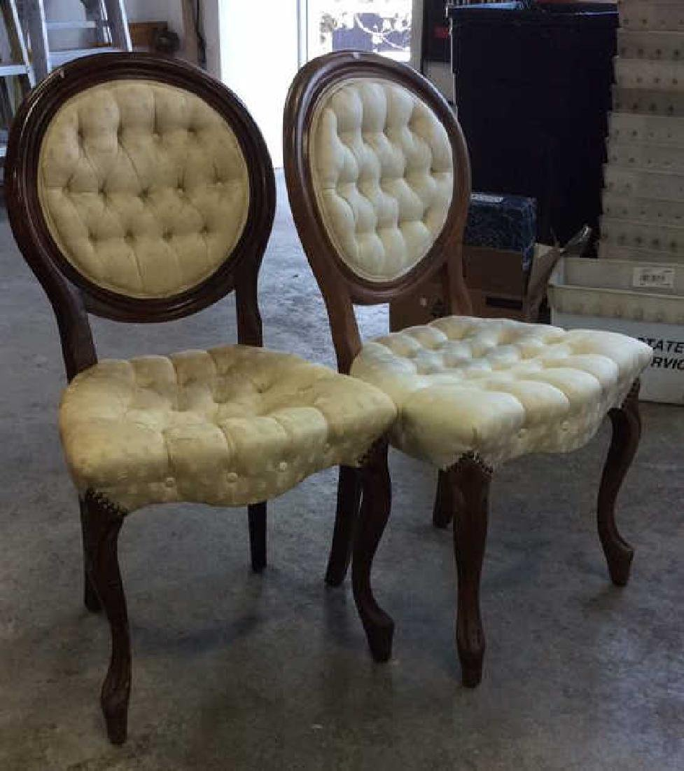 Pair Louis XIV Style Oval Back Chairs - 7