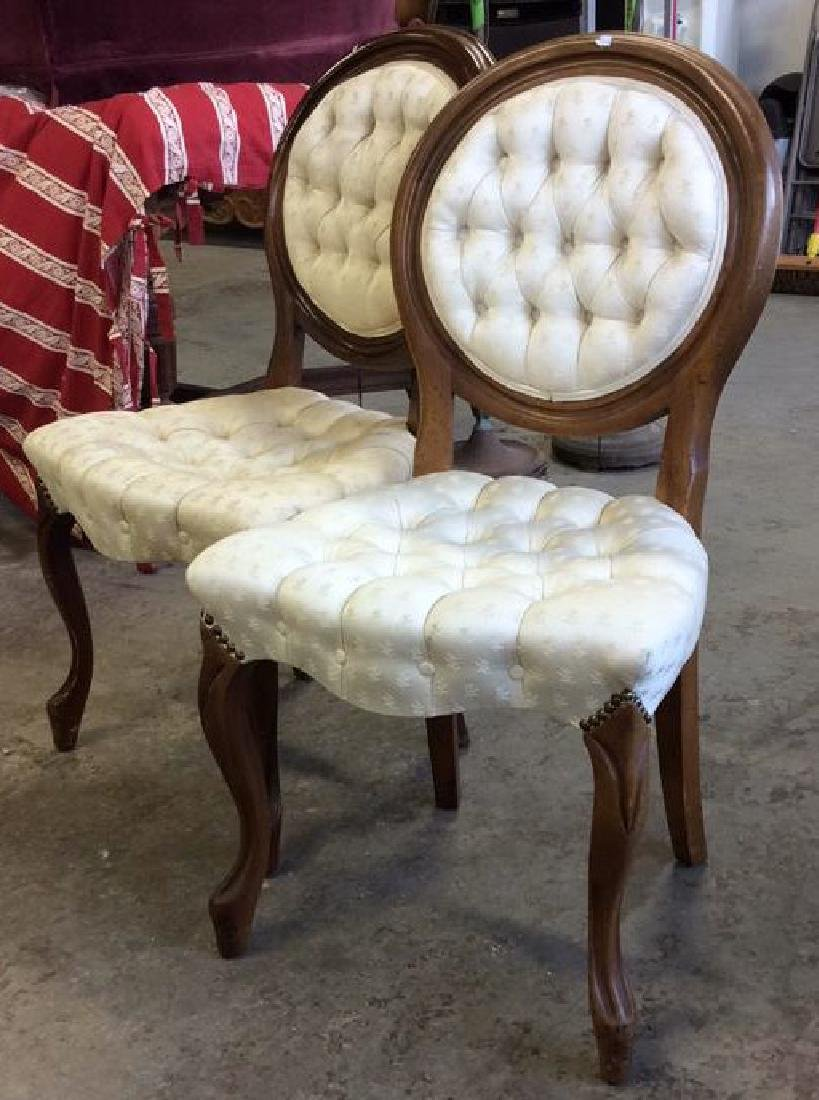 Pair Louis XIV Style Oval Back Chairs - 8